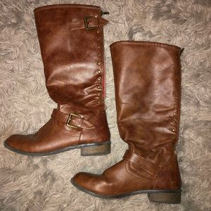 Girls Sz 5 Brown Faux Leather Riding Boots